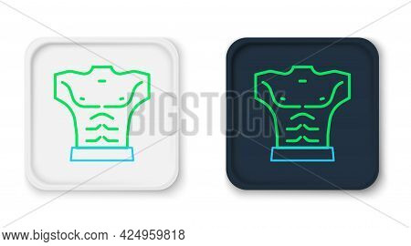 Line Bodybuilder Showing His Muscles Icon Isolated On White Background. Fit Fitness Strength Health