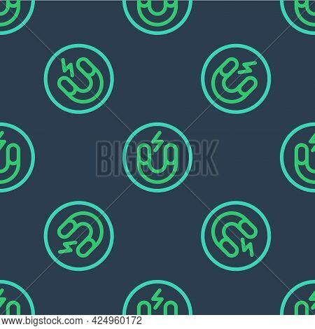 Line Magnet Icon Isolated Seamless Pattern On Blue Background. Horseshoe Magnet, Magnetism, Magnetiz