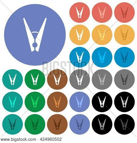 Clothespin Multi Colored Flat Icons On Round Backgrounds. Included White, Light And Dark Icon Variat