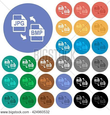 Jpg Bmp File Conversion Multi Colored Flat Icons On Round Backgrounds. Included White, Light And Dar