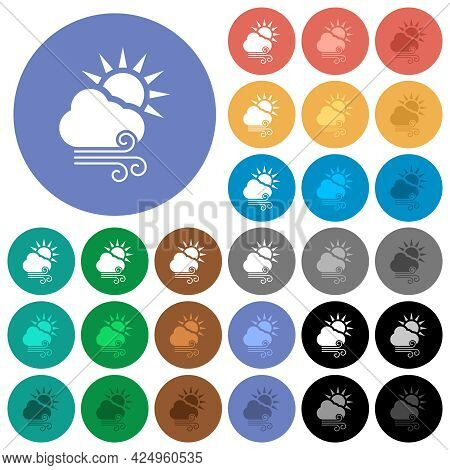 Sunny And Windy Weather Multi Colored Flat Icons On Round Backgrounds. Included White, Light And Dar