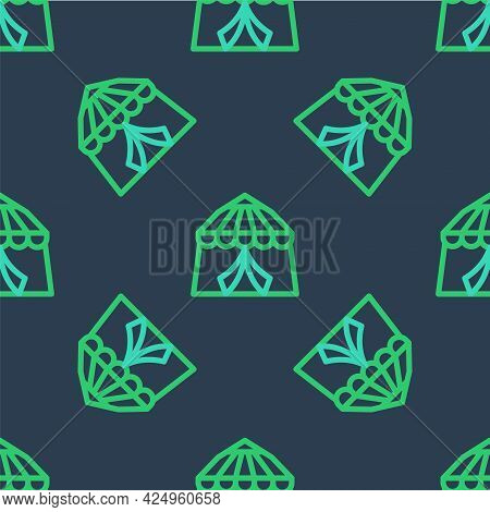 Line Circus Tent Icon Isolated Seamless Pattern On Blue Background. Carnival Camping Tent. Amusement