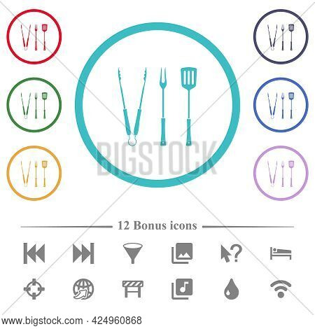 Barbecue Tongs And Fork And Spatula Flat Color Icons In Circle Shape Outlines. 12 Bonus Icons Includ