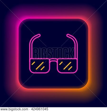 Glowing Neon Line Safety Goggle Glasses Icon Isolated On Black Background. Colorful Outline Concept.