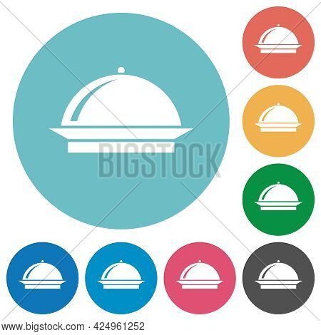 Food Tray With Gloss Flat White Icons On Round Color Backgrounds