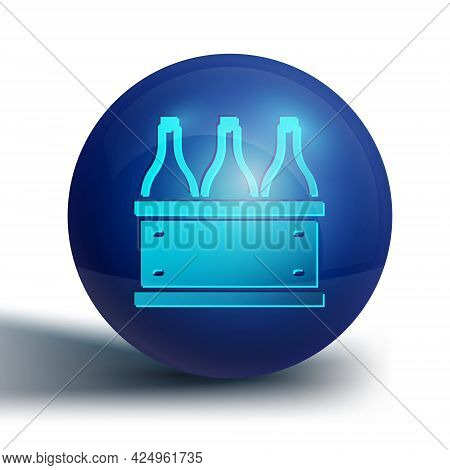 Blue Bottles Of Wine In A Wooden Box Icon Isolated On White Background. Wine Bottles In A Wooden Cra