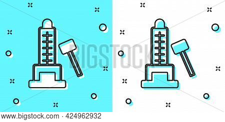 Black Line High Striker Attraction With Big Hammer Icon Isolated On Green And White Background. Attr