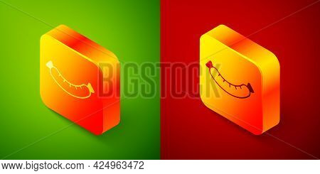 Isometric Sausage Icon Isolated On Green And Red Background. Grilled Sausage And Aroma Sign. Square