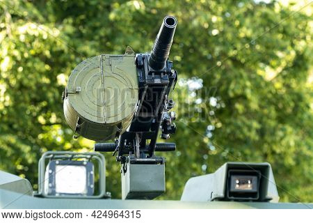 A Grenade Launcher Standing In Combat Readiness On An Infantry Fighting Vehicle.military Concept