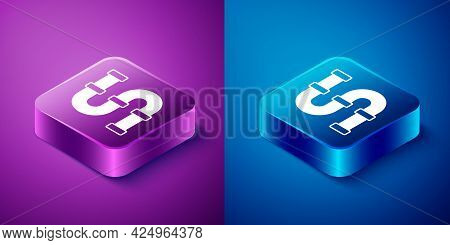 Isometric Industry Metallic Pipe Icon Isolated On Blue And Purple Background. Plumbing Pipeline Part