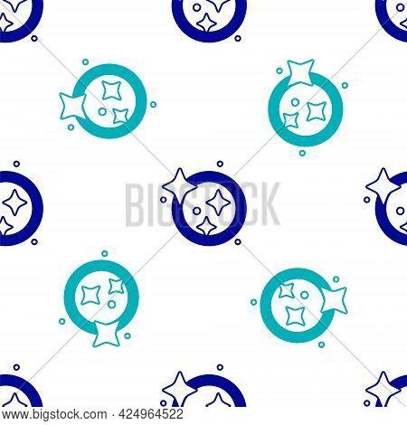 Blue Washing Dishes Icon Isolated Seamless Pattern On White Background. Cleaning Dishes Icon. Dishwa