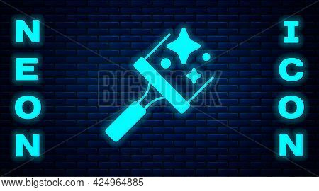Glowing Neon Cleaning Service With Of Rubber Cleaner For Windows Icon Isolated On Brick Wall Backgro