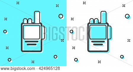 Black Line Walkie Talkie Icon Isolated On Green And White Background. Portable Radio Transmitter Ico