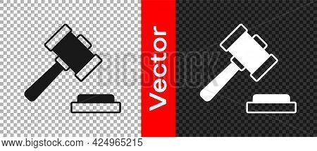 Black Judge Gavel Icon Isolated On Transparent Background. Gavel For Adjudication Of Sentences And B