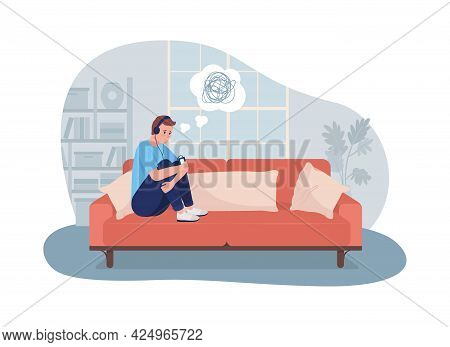 Sad Lonely Teen Boy At Home 2d Vector Isolated Illustration. Sitting At Home Depressed. Child Listen