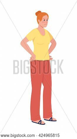Angry Woman Semi Flat Color Vector Character. Upset Lady. Standing Figure. Full Body Person On White