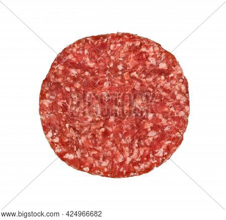 One Fresh Raw Beef Meat Burger For Hamburger Isolated On White Background, Elevated Top View, Direct