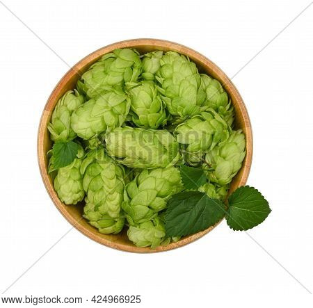 Close Up One Wooden Bowl Of Fresh Green Hops Isolated On White Background, Elevated Top View, Direct