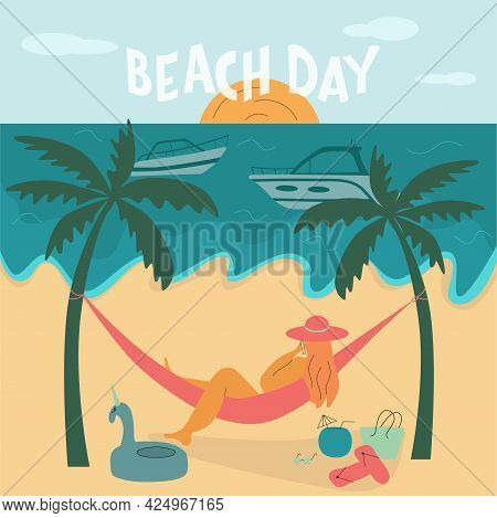 Young Body Positive Woman On Beach. Summer Vacation Seaside Concept. Lettering Text Beach Day. Vecto