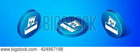 Isometric Radioactive Waste In Barrel Icon Isolated On Blue Background. Toxic Waste Contamination On