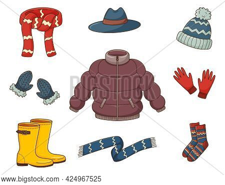 A Set Of Colored Doodles. Outerwear, Down Jacket, Sweater, Hat, Scarf, Boots, Gloves, Socks. Warm Au