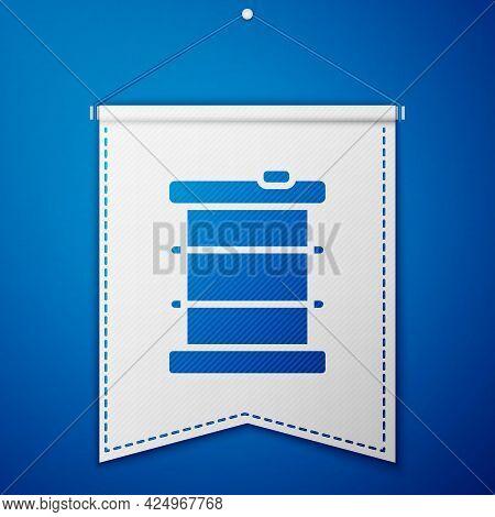 Blue Radioactive Waste In Barrel Icon Isolated On Blue Background. Toxic Refuse Keg. Radioactive Gar