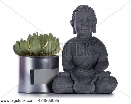 Grey Ceramic Buddha Statue, Standing Beside Tin Can With Succulent Plant. Isolated On A White Backgr