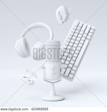 Flying Monochrome Gamer Gears Like Mouse, Keyboard, Joystick, Headset, Vr Headset. Microphone On Whi