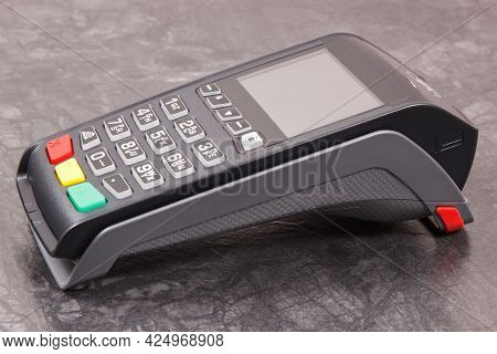 Credit Card Reader As Device Using For Cashless Paying. Payment Terminal. Finance And Banking Concep