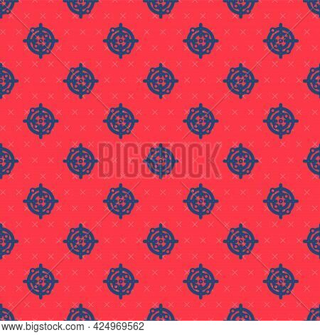 Blue Line Target Sport Icon Isolated Seamless Pattern On Red Background. Clean Target With Numbers F