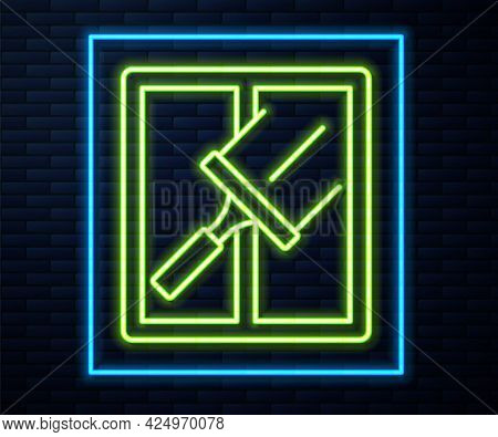 Glowing Neon Line Cleaning Service With Of Rubber Cleaner For Windows Icon Isolated On Brick Wall Ba