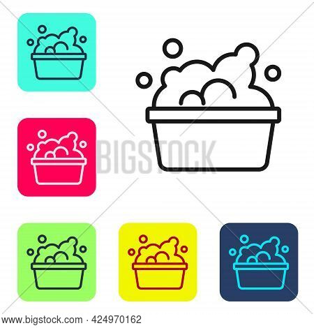 Black Line Plastic Basin With Soap Suds Icon Isolated On White Background. Bowl With Water. Washing