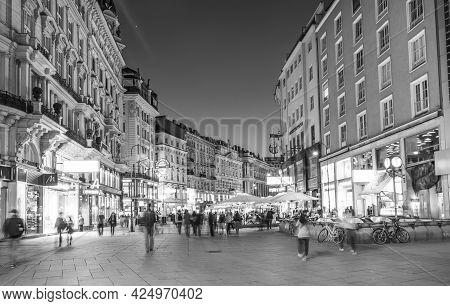 Vienna, Austria - Apr 26, 2015: People Visit Graben In Vienna. Graben Street Is Among Most Recognize