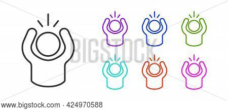 Black Line Anger Icon Isolated On White Background. Anger, Rage, Screaming Concept. Set Icons Colorf
