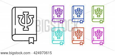 Black Line Psychology Book Icon Isolated On White Background. Psi Symbol. Mental Health Concept, Psy