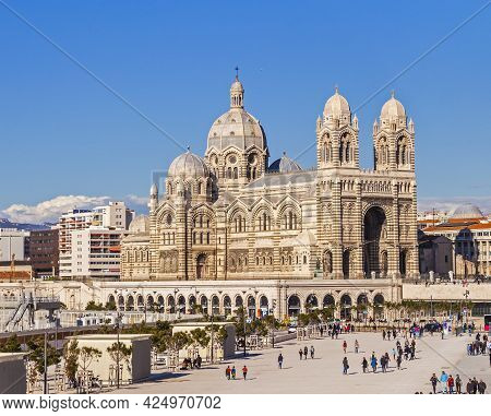 Marseille, France - April 5, 2015 : People Visit Romanesque Cathedral In Marseille. Marseille Was De