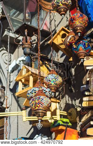 At The Flea Market: Vintage Hanging Lamps With Colorful Mosaics On Chains, Birdhouses, Street Lamps