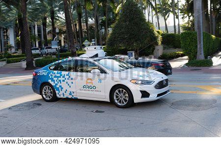 Miami Beach, Florida Usa - April 15, 2021: Ford Argo Self-driving Test Vehicle Side View