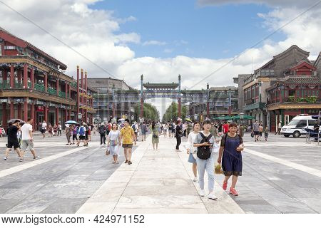 Beijing, China - August 07 2018: Zhengyang Bridge At The Entrance Of Qianmen Avenue, A Traditional C