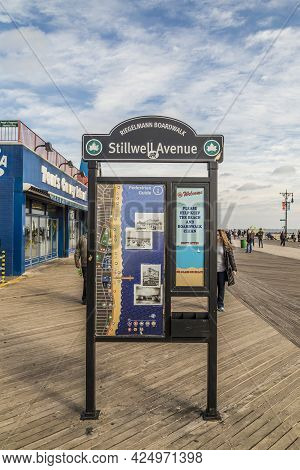 Coney Island, Usa - October 25, 2015: Signage At Famous Stillwell Avenue, Also The So Called Riegelm