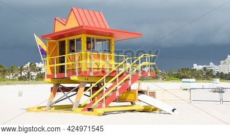 Miami Beach Lifeguard Tower Station. Lifeguard Tower In Miami, Usa. Summer Vacation
