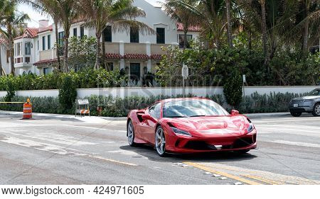 Palm Beach, Florida Usa - March 21, 2021: Red Ferrari Sf90 Stradale Luxury Car On Road