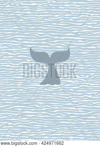 Poster With A Seascape. Blue Ocean, White Waves, Calm Sea And The Gray Tail Of A Huge Whale Peeking