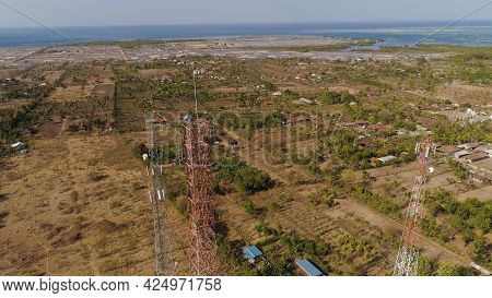 Aerial View Cell Phone Towers Line In Bali, Indonesia. Telecommunication Tower, Communication Antenn