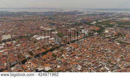 Aerial Cityscape Densely Built Asian City, Seaport. Urban Environment In Asia. Modern City Surabaya