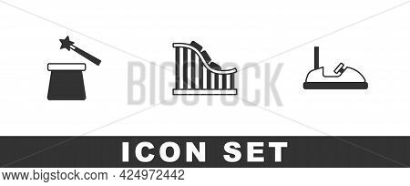 Set Magic Hat And Wand, Roller Coaster And Bumper Car Icon. Vector