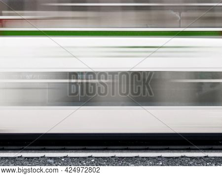 Train In Motion Blur. High Speed Train With Motion Blur. Abstract Image Of Moving Train With Motion