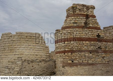 Part Of A Fortress Wall And A Tower Built In The Period V-vi Century Nesebar Resort, Bulgaria