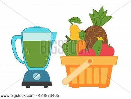 Blender With Green Healthy Vegetable Smoothie And Vegetables In A Nearby Supermarket Basket. We Prep