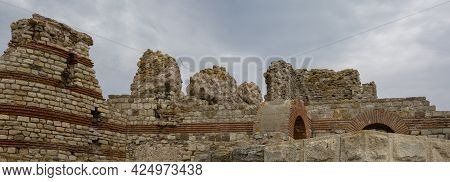 Panorama Of The Centuries-old Fortress Wall Of The Fishing Town Of Mesembria, V-vi Century. Nesebar